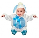Blue doggy costume for infants made of soft fleece BABYS