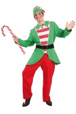 Green & Red Elf Adult Costume